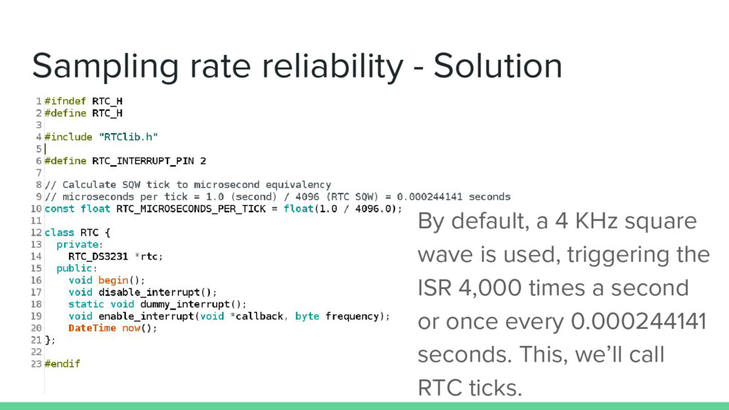 Sampling rate reliability - Solution By default...