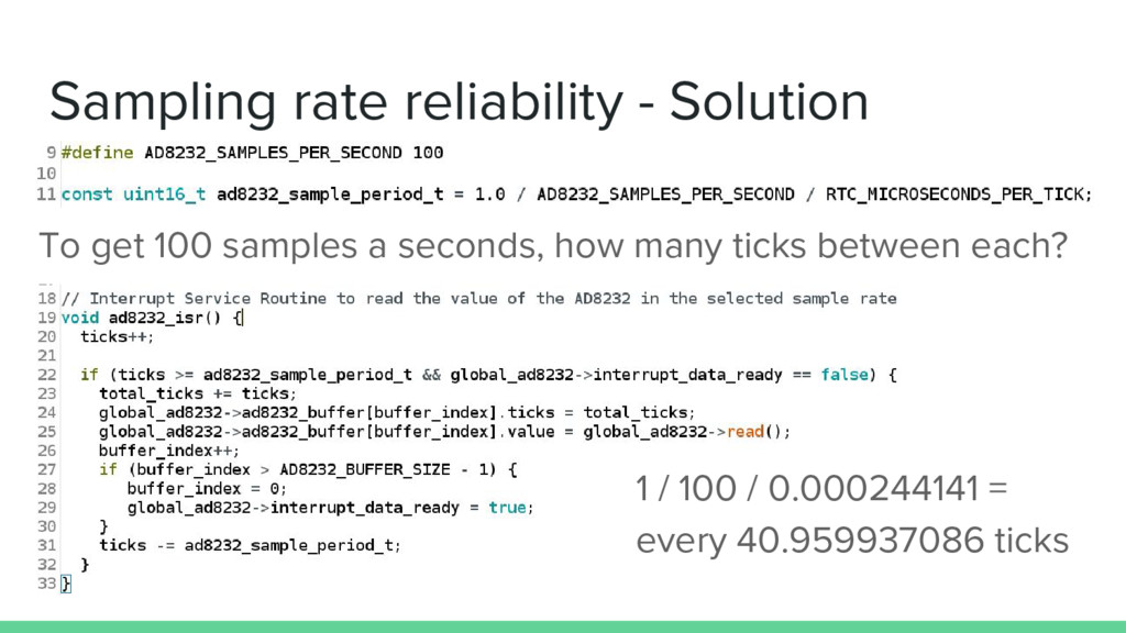 Sampling rate reliability - Solution To get 100...