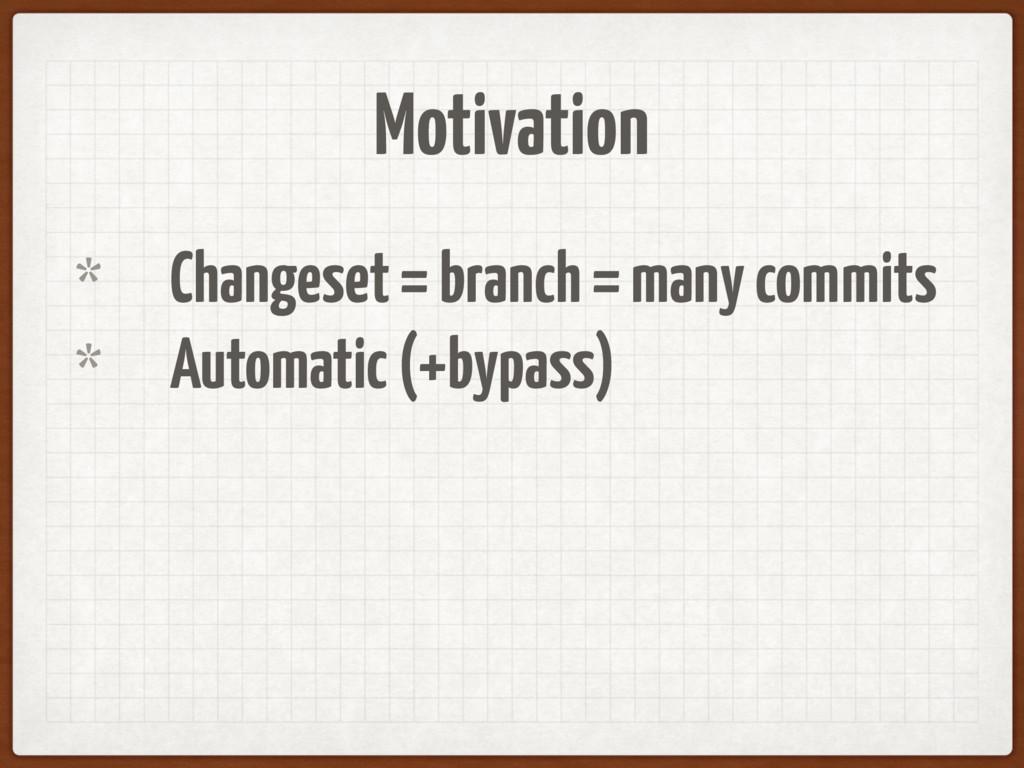 Motivation * Changeset = branch = many commits ...