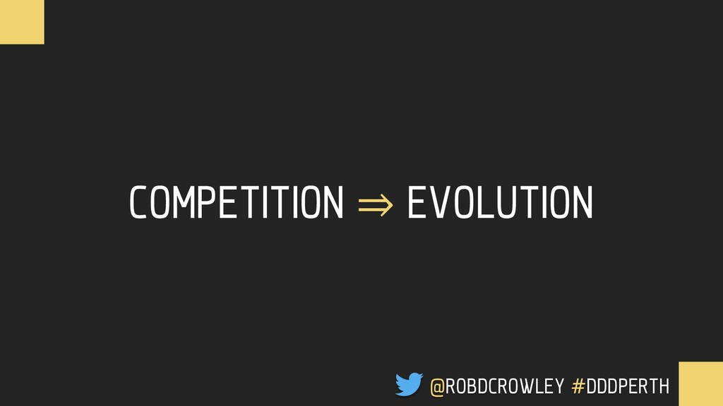 COMPETITION ⇒ EVOLUTION @ROBDCROWLEY #CONFOO