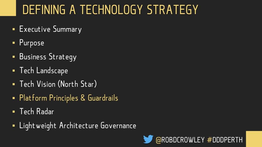 @ROBDCROWLEY #CONFOO DEFINING A TECHNOLOGY STRA...