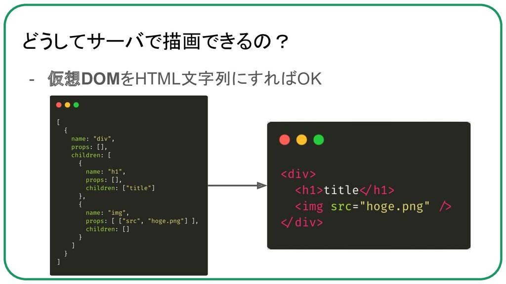 どうしてサーバで描画できるの? - 仮想DOMをHTML文字列にすればOK