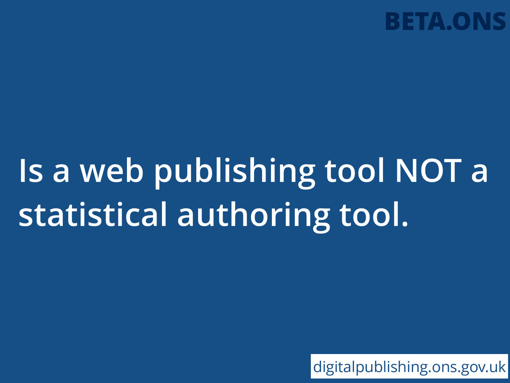 Is a web publishing tool NOT a statistical auth...