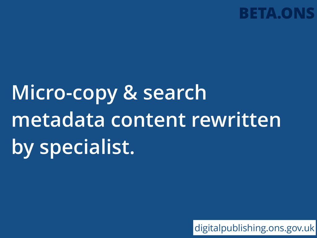 Micro-copy & search metadata content rewritten ...