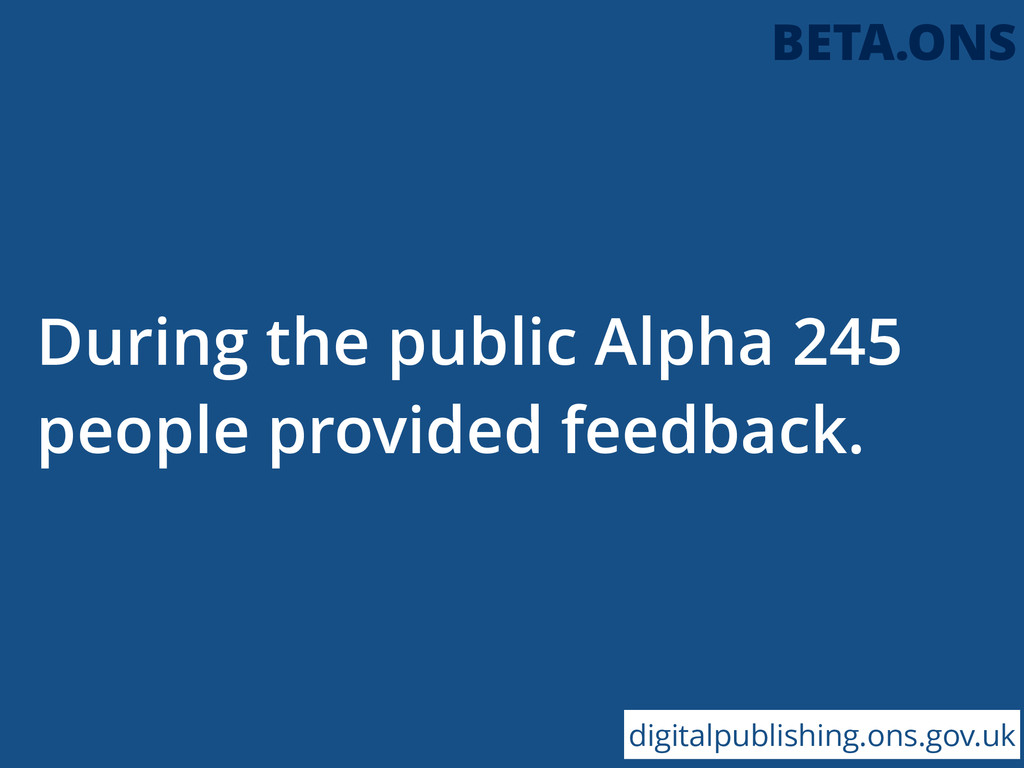 During the public Alpha 245 people provided fee...