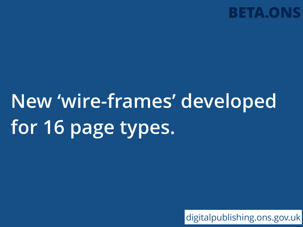 New 'wire-frames' developed for 16 page types. ...