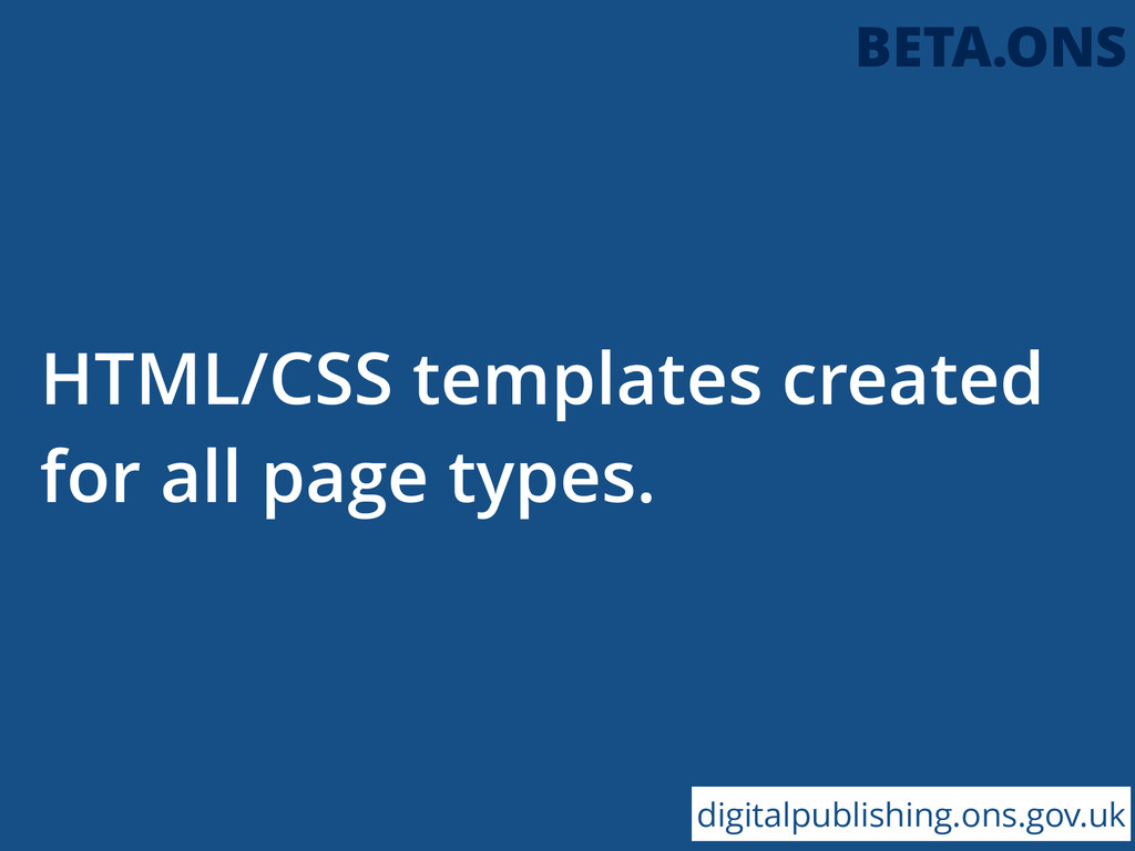 HTML/CSS templates created for all page types. ...