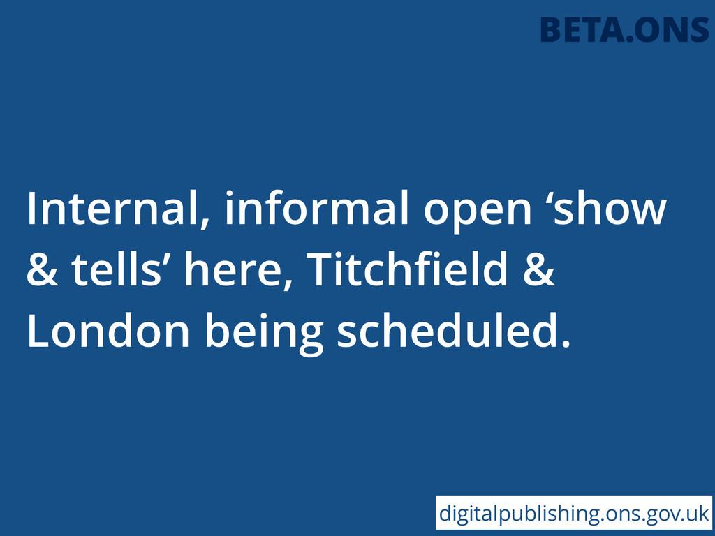 Internal, informal open 'show & tells' here, Ti...