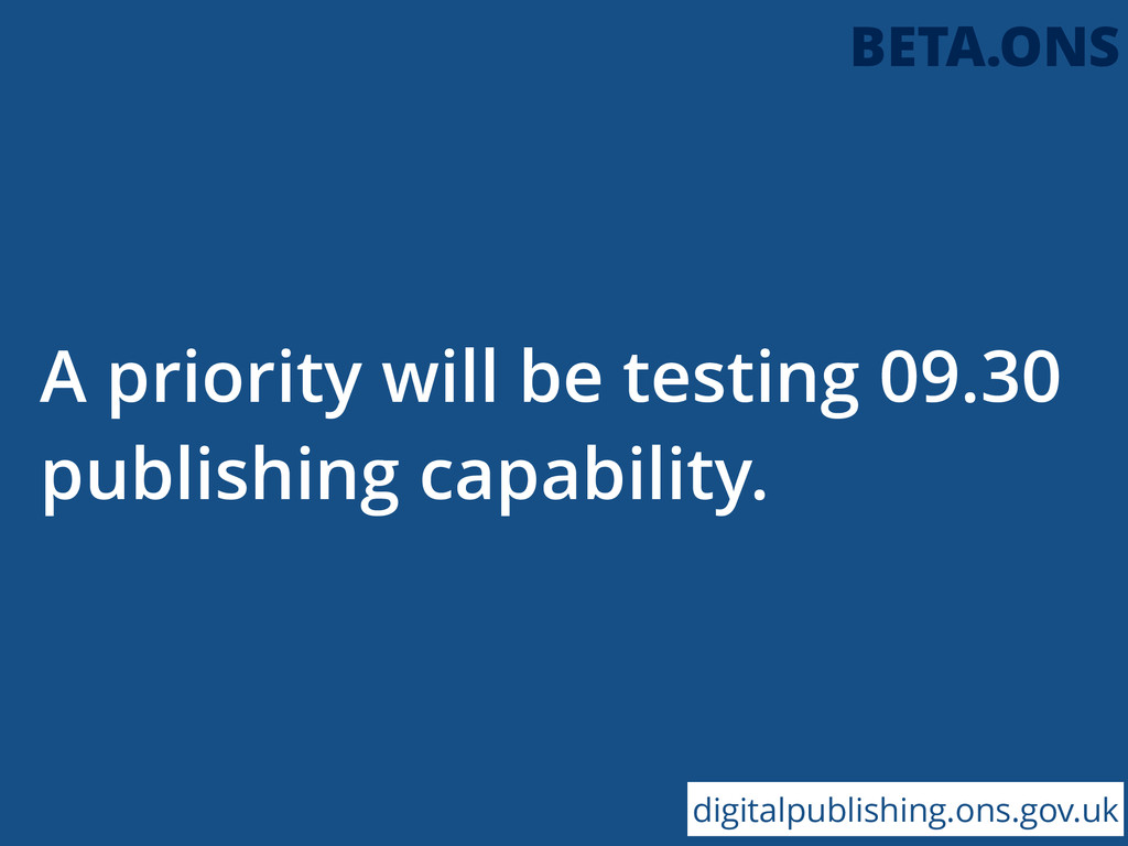 A priority will be testing 09.30 publishing cap...