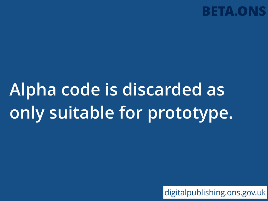 Alpha code is discarded as only suitable for pr...
