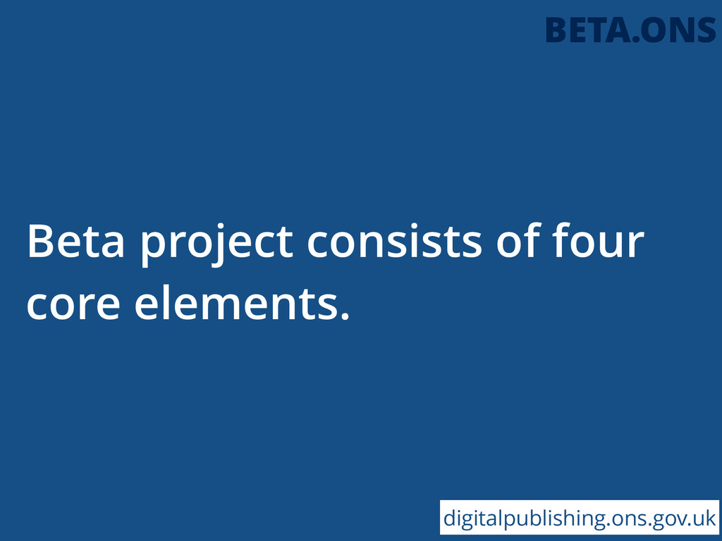 Beta project consists of four core elements. di...