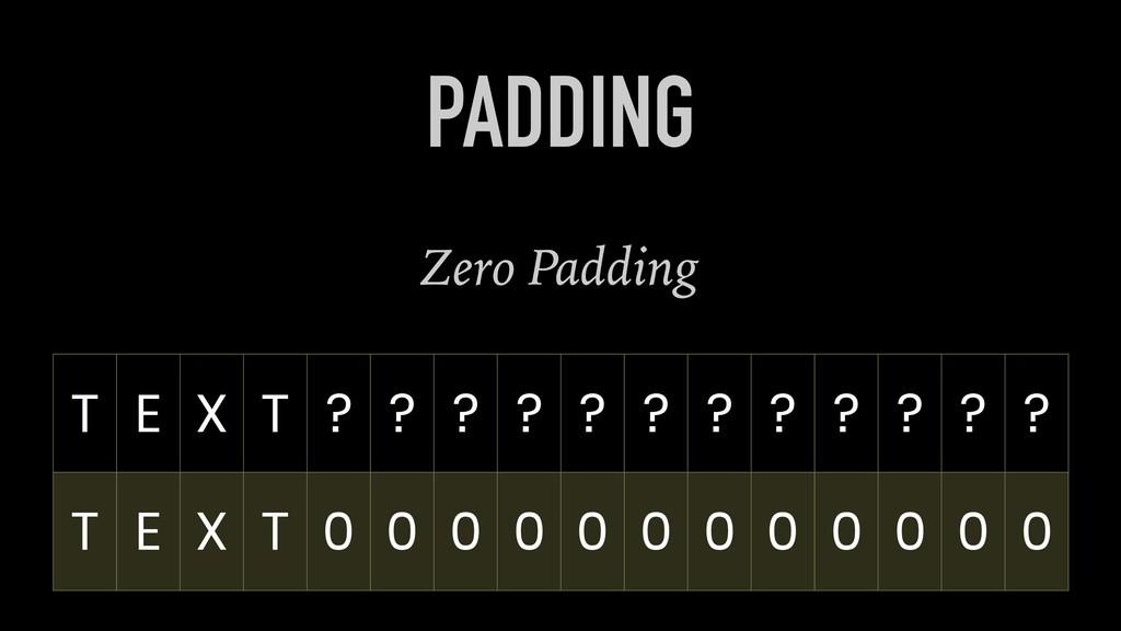 Zero Padding PADDING T E X T ? ? ? ? ? ? ? ? ? ...