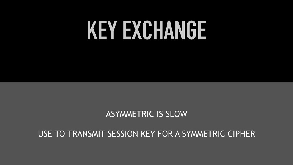 KEY EXCHANGE ASYMMETRIC IS SLOW USE TO TRANSMIT...