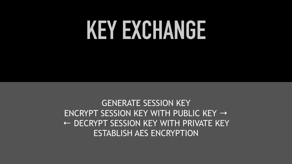 KEY EXCHANGE GENERATE SESSION KEY ENCRYPT SESSI...