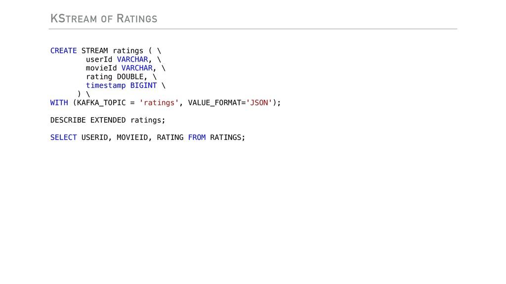 KSTREAM OF RATINGS CREATE STREAM ratings ( \ us...