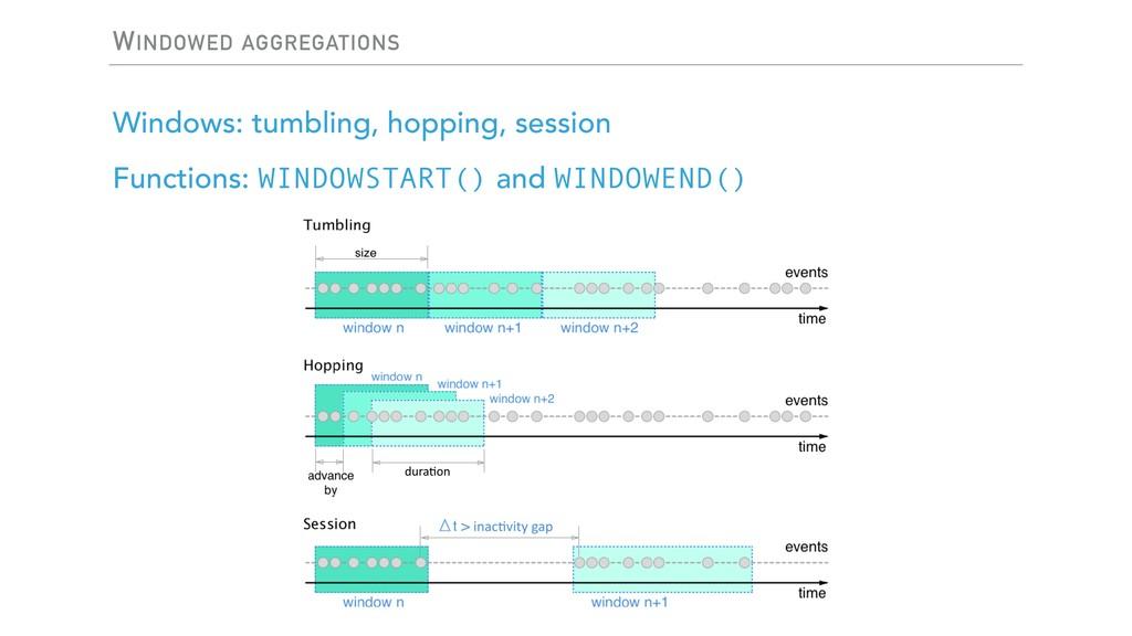 WINDOWED AGGREGATIONS Windows: tumbling, hoppin...