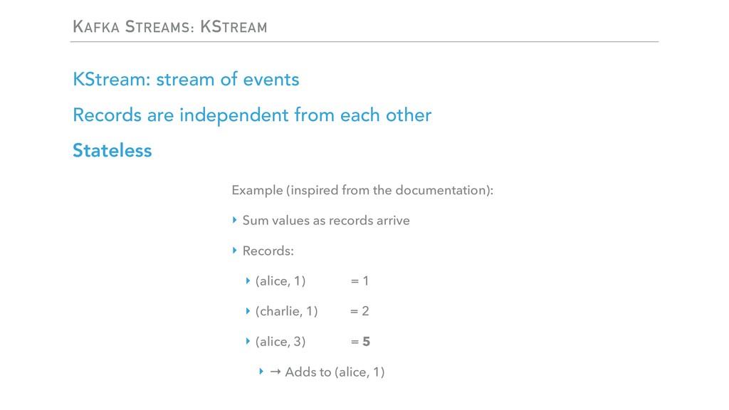 KAFKA STREAMS: KSTREAM KStream: stream of event...