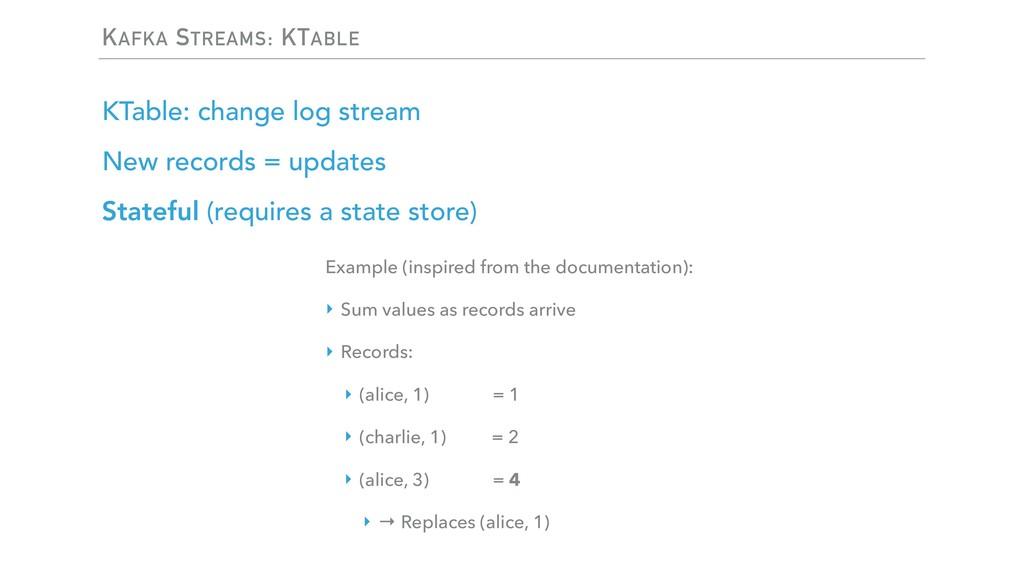 KAFKA STREAMS: KTABLE KTable: change log stream...