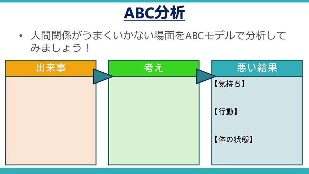 ABC分析 • 人間関係がうまくいかない場面をABCモデルで分析して みましょう! 出来事 考...