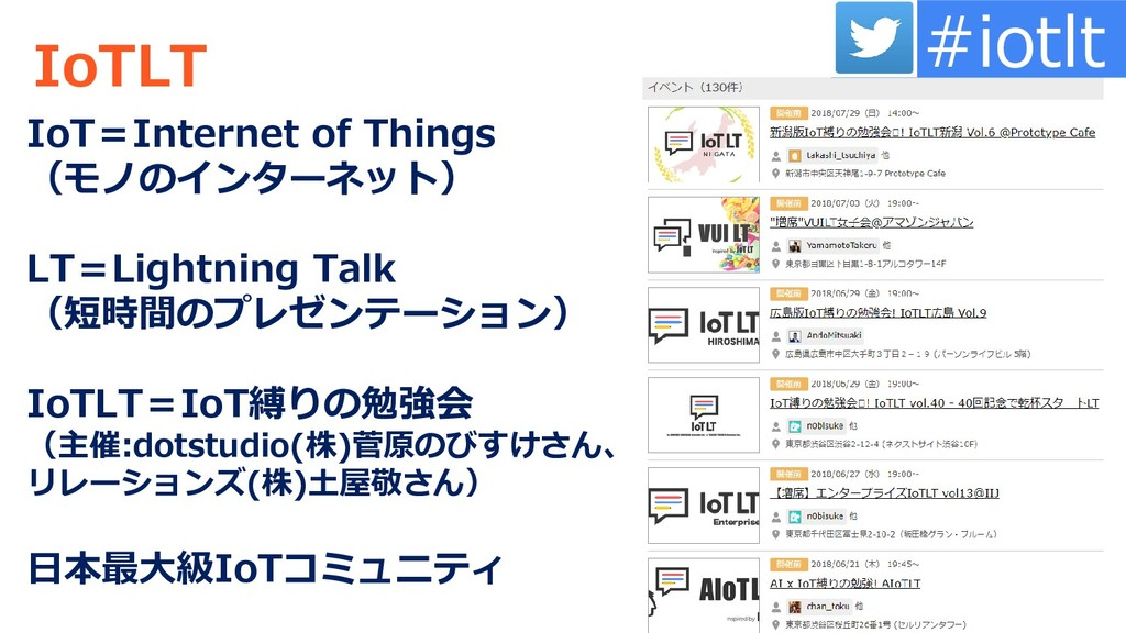IoTLT IoT=Internet of Things (モノのインターネット) LT=Li...