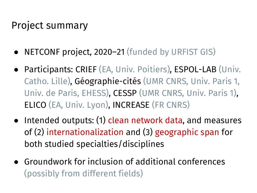 Project summary ● NETCONF project, 2020–21 (fun...