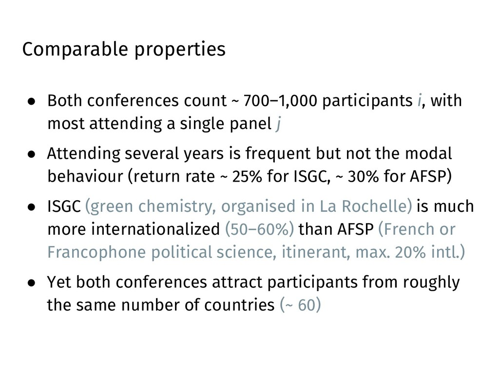 Comparable properties ● Both conferences count ...