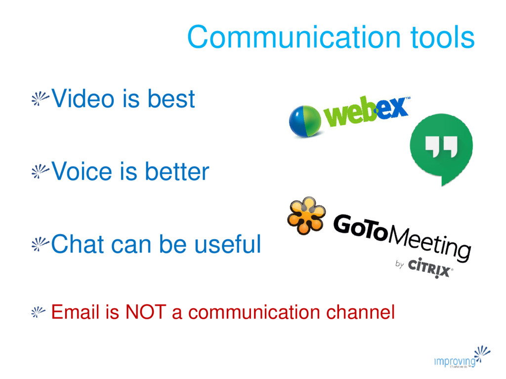 Video is best Voice is better Chat can be usefu...