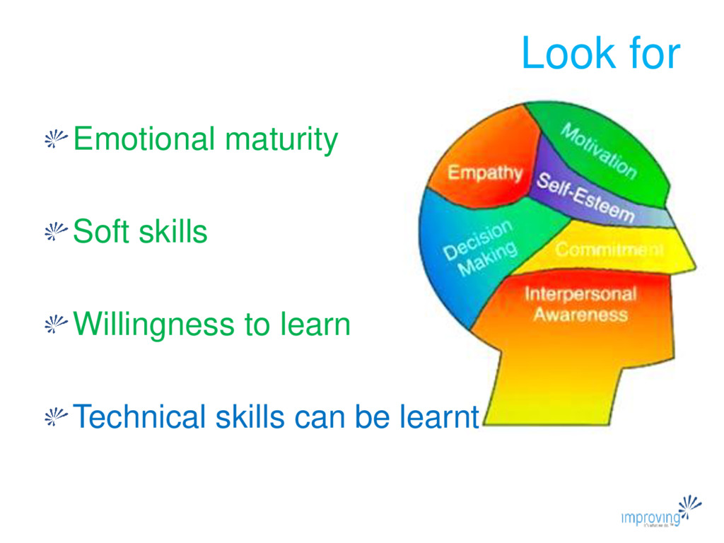 Look for Emotional maturity Soft skills Willing...