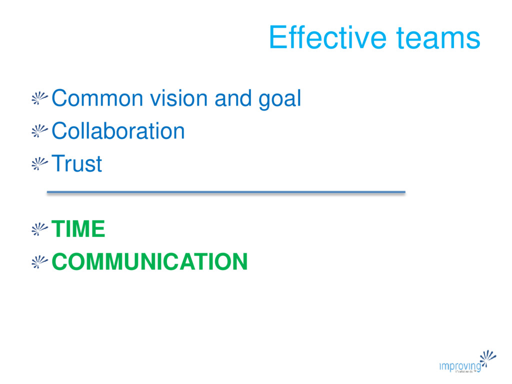 Effective teams Common vision and goal Collabor...