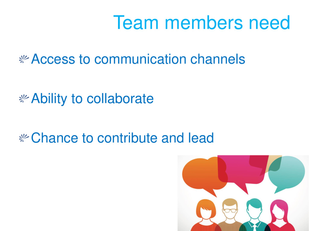 Team members need Access to communication chann...