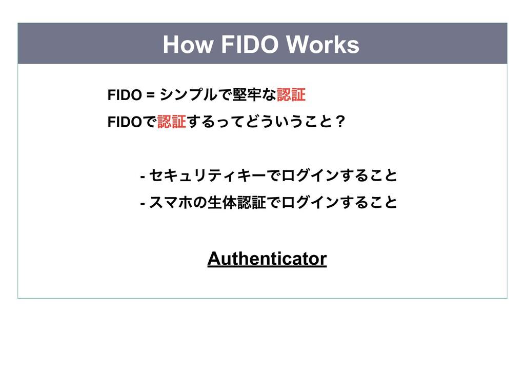 How FIDO Works FIDO = シンプルで堅牢な認証  FIDO で認証するってど...