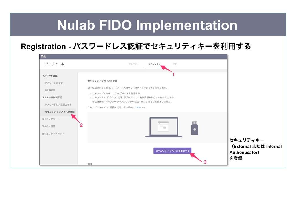 Nulab FIDO Implementation Registration - パスワードレ...