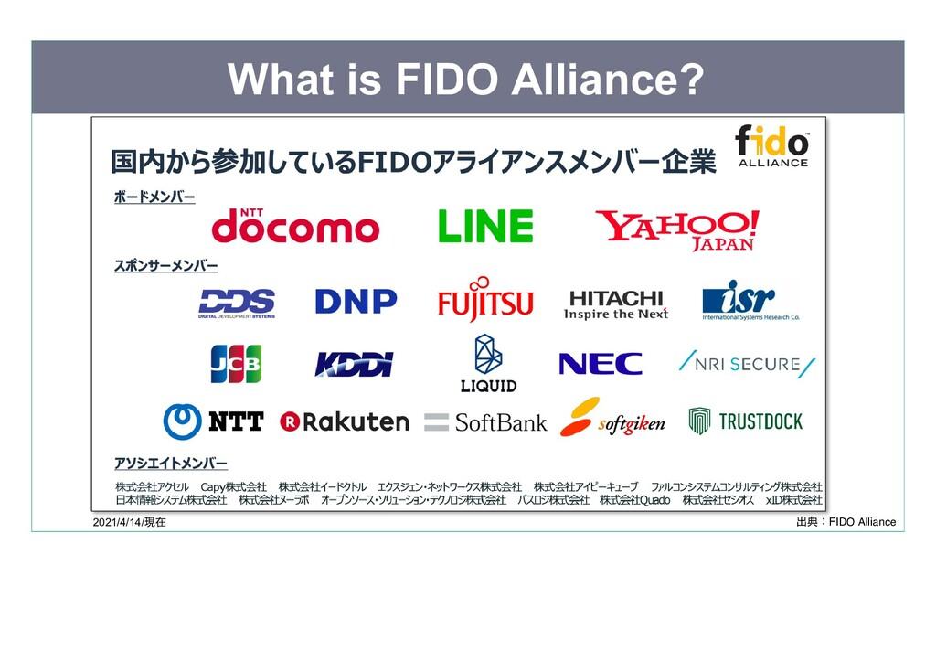 What is FIDO Alliance? 2021/4/14/ 現在  出典:FIDO A...