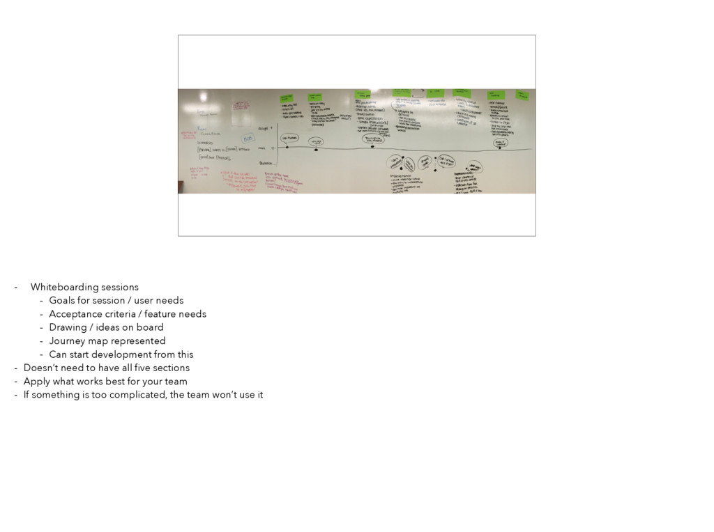 - Whiteboarding sessions - Goals for session / ...