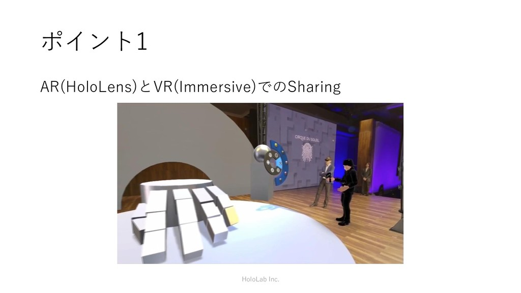 ポイント1 AR(HoloLens)とVR(Immersive)でのSharing HoloL...
