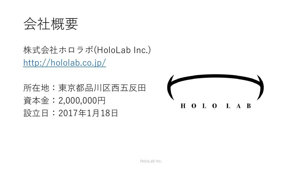 会社概要 株式会社ホロラボ(HoloLab Inc.) http://hololab.co.j...