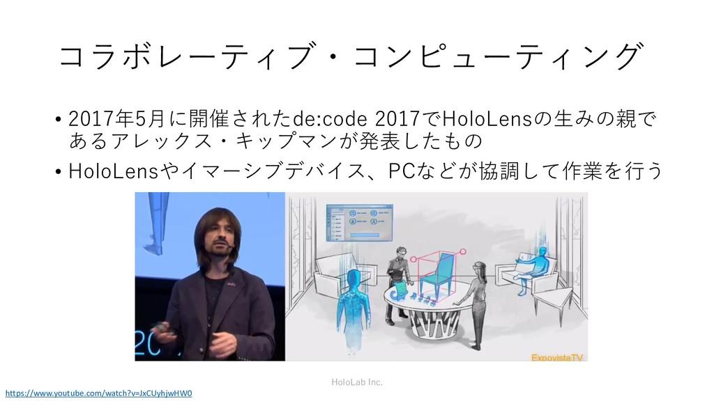 コラボレーティブ・コンピューティング HoloLab Inc. • 2017年5月に開催された...