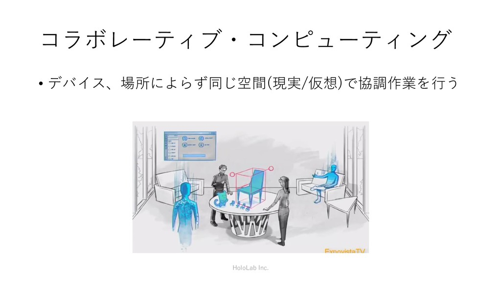 コラボレーティブ・コンピューティング • デバイス、場所によらず同じ空間(現実/仮想)で協調作...