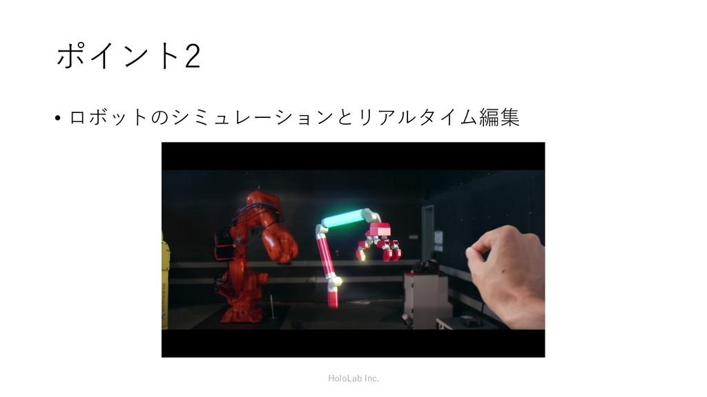 ポイント2 HoloLab Inc. • ロボットのシミュレーションとリアルタイム編集