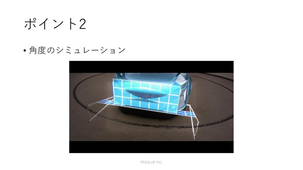 ポイント2 • 角度のシミュレーション HoloLab Inc.