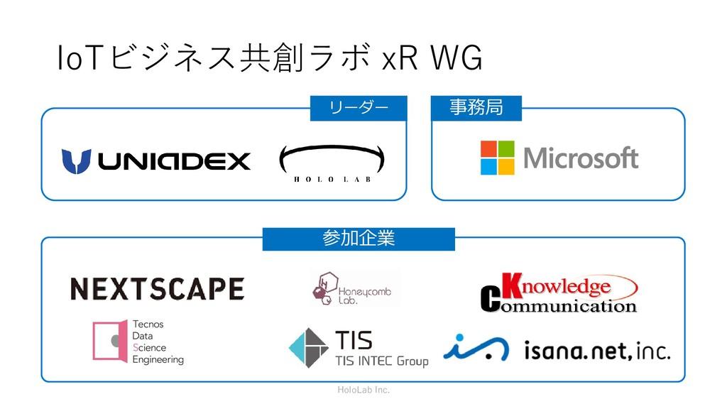 IoTビジネス共創ラボ xR WG リーダー 事務局 参加企業 HoloLab Inc.