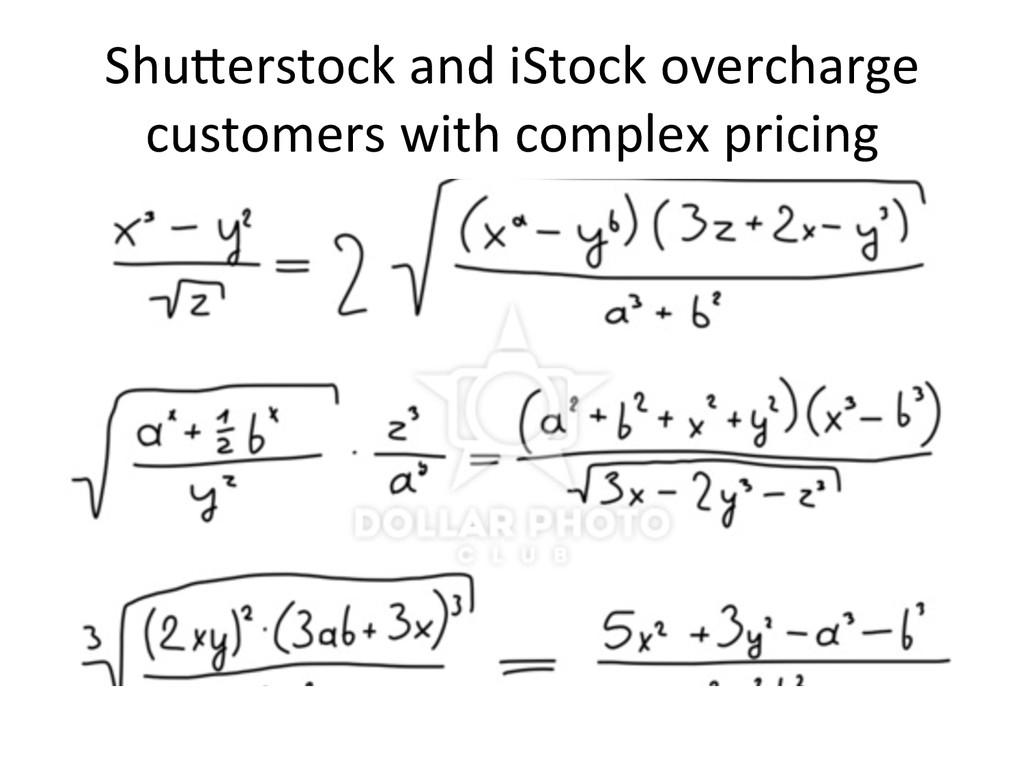 ShuIerstock and iStock overcharge  ...