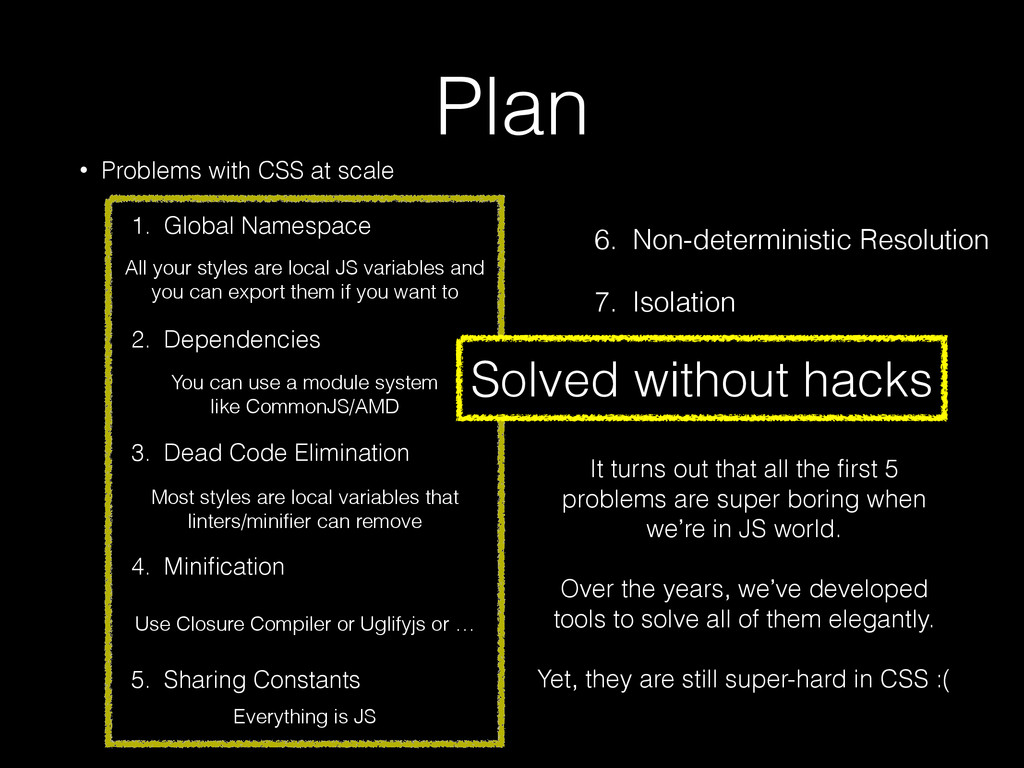 Plan • Problems with CSS at scale 1. Global Nam...