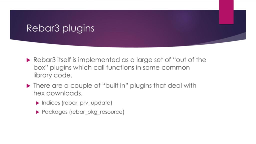 Rebar3 plugins  Rebar3 itself is implemented a...