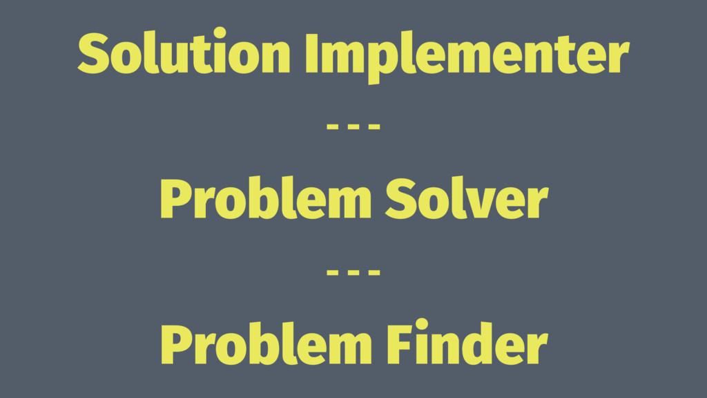 Solution Implementer - - - Problem Solver - - -...