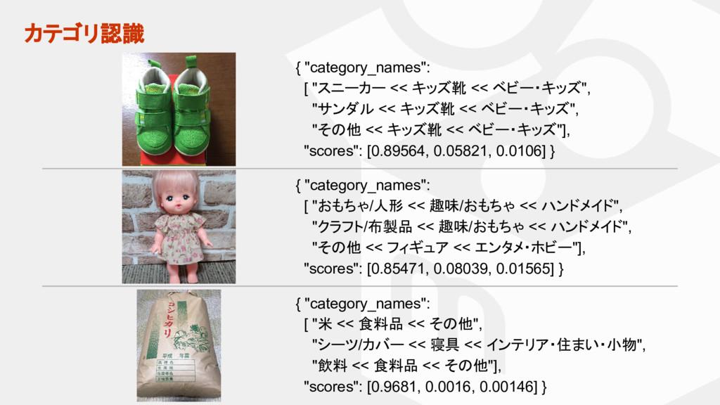 """カテゴリ認識 { """"category_names"""": [ """"米 << 食料品 << その他"""",..."""