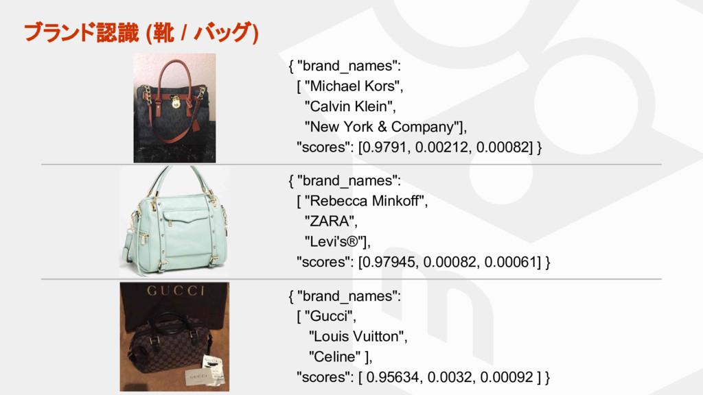 """ブランド認識 (靴 / バッグ) { """"brand_names"""": [ """"Gucci"""", """"L..."""
