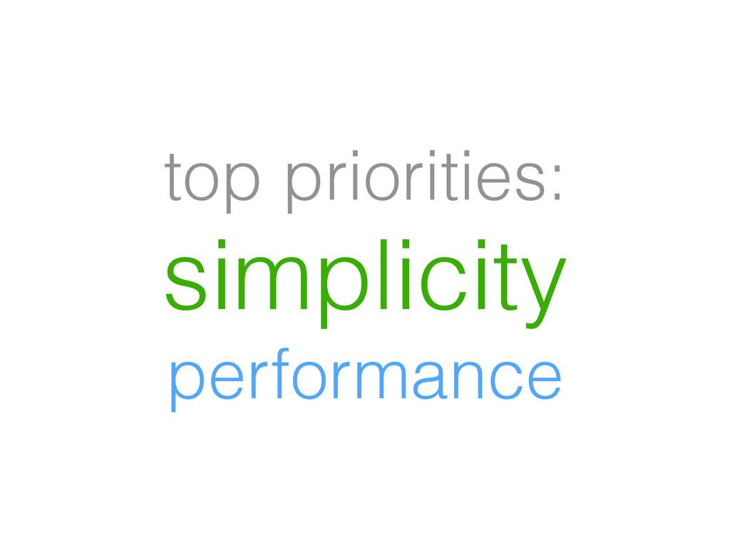 top priorities: simplicity performance