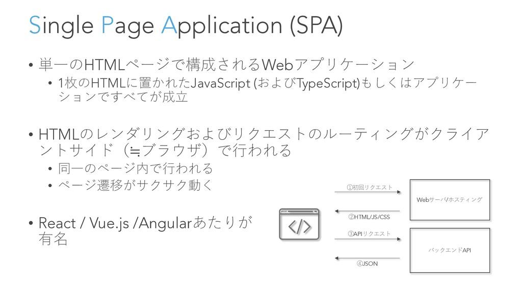 Single Page Application (SPA) • 単⼀のHTMLページで構成され...