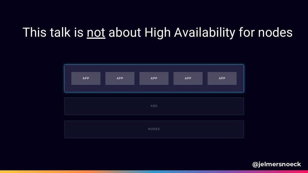 This talk is not about High Availability for no...